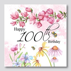 100th Birthday Watercolor Floral G Photo Wall Tile