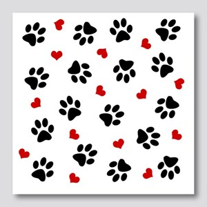 Paw Prints and Hearts Photo Wall Tile
