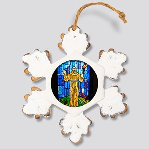 St. Francis Stained Glas Rustic Snowflake Ornament
