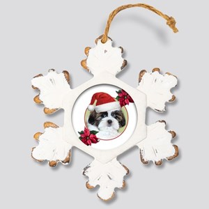 Christmas Shih Tzu dog Rustic Snowflake Ornament