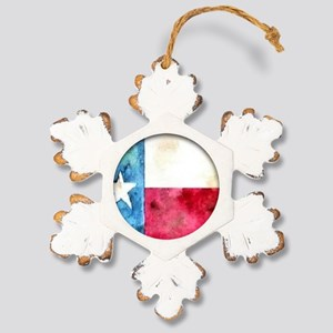 TEXAS FLAG Antique Rustic Snowflake Ornament