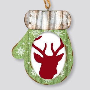 Deer Head: Rustic Red Mitten Ornament