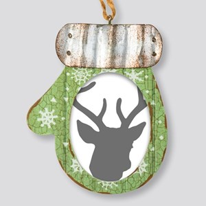 Deer Head: Rustic Grey Mitten Ornament