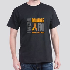 Orange Awareness Ribbon Customized Dark T-Shirt