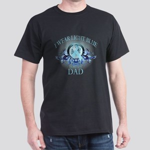 I Wear Light Blue for my Dad (floral) Dark T-Shirt
