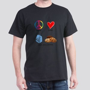 Peace Love Milk and Cookies Dark T-Shirt