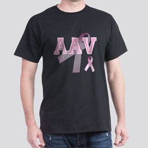 AAV initials, Pink Ribbon, Dark T-Shirt