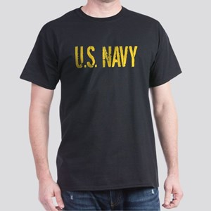 U.S. Navy: Gold Stencil Dark T-Shirt