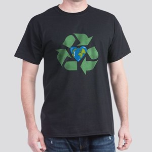Recycle Earth Heart Dark T-Shirt