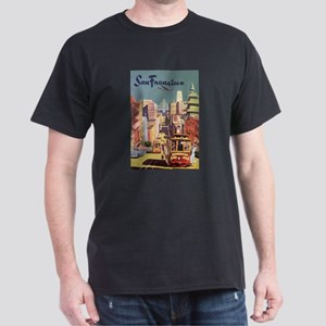Vintage Travel Poster San Francisco Dark T-Shirt