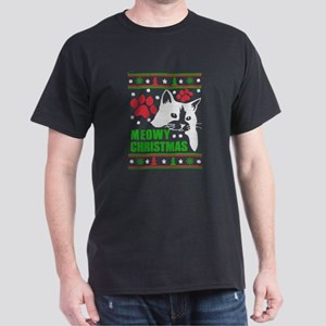 Meowy - Ugly Christmas Sweater-style Print T-Shirt
