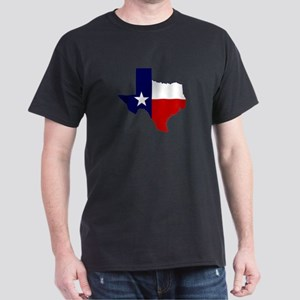 Texas Flag On Outline Dark T-Shirt
