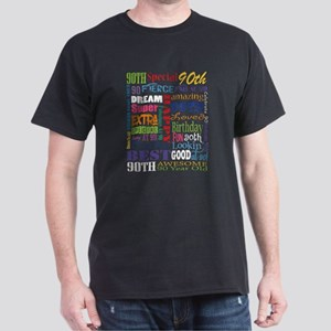 90th Birthday Typography Dark T-Shirt