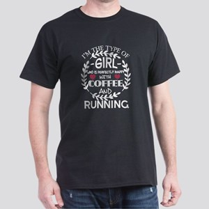 This Girl Is Happy With Coffee And Running T-Shirt