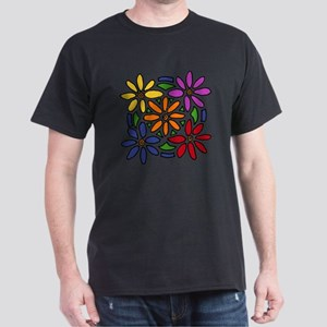 Colorful Daisy Floral Art Dark T-Shirt