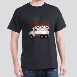 Merry Christmas Ambulance Dark T-Shirt