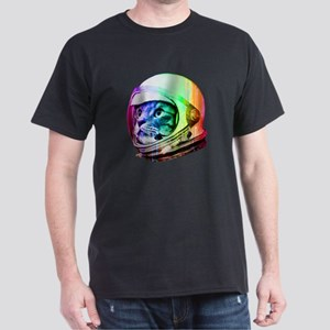 56be085d Astronaut Space Cat (digital rainbow Dark T-Shirt