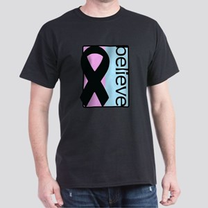 Pink and Blue (Believe) Ribbon Dark T-Shirt
