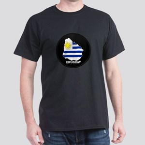 Flag Map of Uruguay Dark T-Shirt