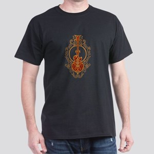 Intricate Golden Red Guitar Design T-Shirt
