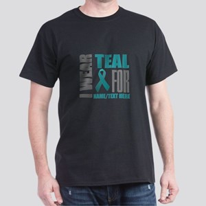Teal Awareness Ribbon Customized Dark T-Shirt