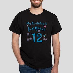 August 12th Birthday Dark T-Shirt
