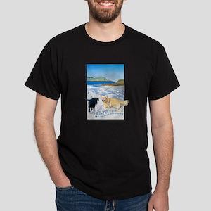 Playful Dogs On Beach Dark T-Shirt