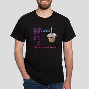 Personalized Birthday Cupcake Dark T-Shirt