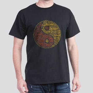 Yin Yang Spiritual Word Art Dark T-Shirt