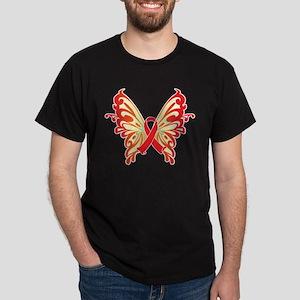 AIDS Ribbon Butterfly Dark T-Shirt