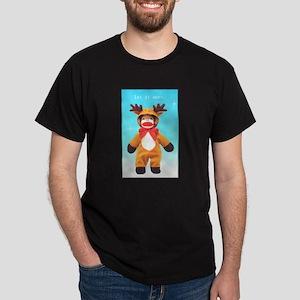 Reindeer Sock Monkey Dark T-Shirt