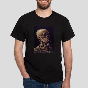 Skull with a Burning Cigarett Dark T-Shirt