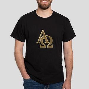 """3-D"" Golden Alpha and Omega Symbol Dark T-Shirt"
