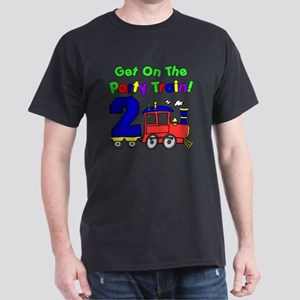 Get On The Party Train 2 Year Old Dark T-Shirt