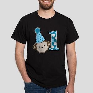 1st Birthday Cute Boy Monkey Blue Dark T-Shirt