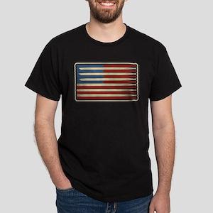 Retro Drummer Drumstick Flag Dark T-Shirt