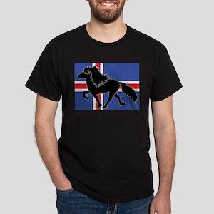 Black Icelandic horse with Iceland flag T-Shirt