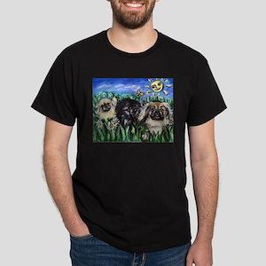 Happy Pekes under the smiling Dark T-Shirt