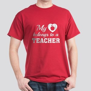 Heart Belongs Teacher Dark T-Shirt