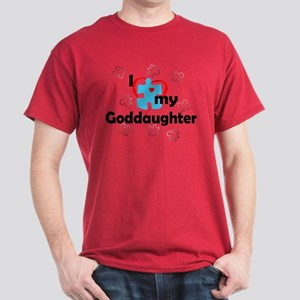I Love My Goddaughter - Autism Dark T-Shirt