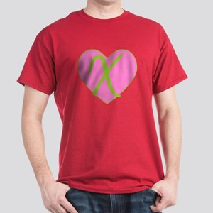 Pink Heart Monogram Initial X Dark T-Shirt