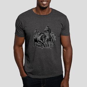 Wild Horses Illustration Dark T-Shirt