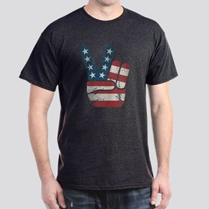 Peace Sign USA Vintage Dark T-Shirt