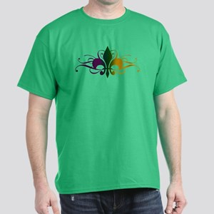 Purple Green Yellow Swirl Fleur De Lis Dark T-Shir