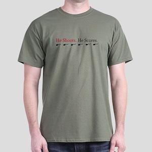 423d249c5d4b HE SHOOTS HE SCORES (EXPECTIN Dark T-Shirt