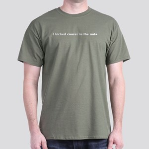 I kicked cancer in the nuts Black T-Shirt