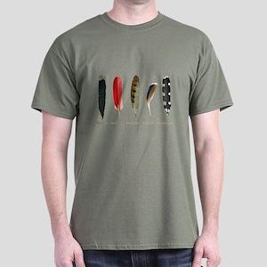 Nature Art Bird Feathers Dark T-Shirt