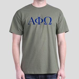 Alpha Phi Omega Letters Blue Dark T-Shirt