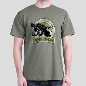 Doberman army green Dark T-Shirt