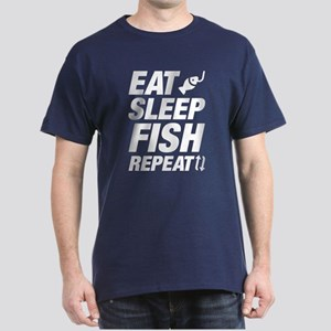 Eat Sleep Fish Repeat Dark T-Shirt